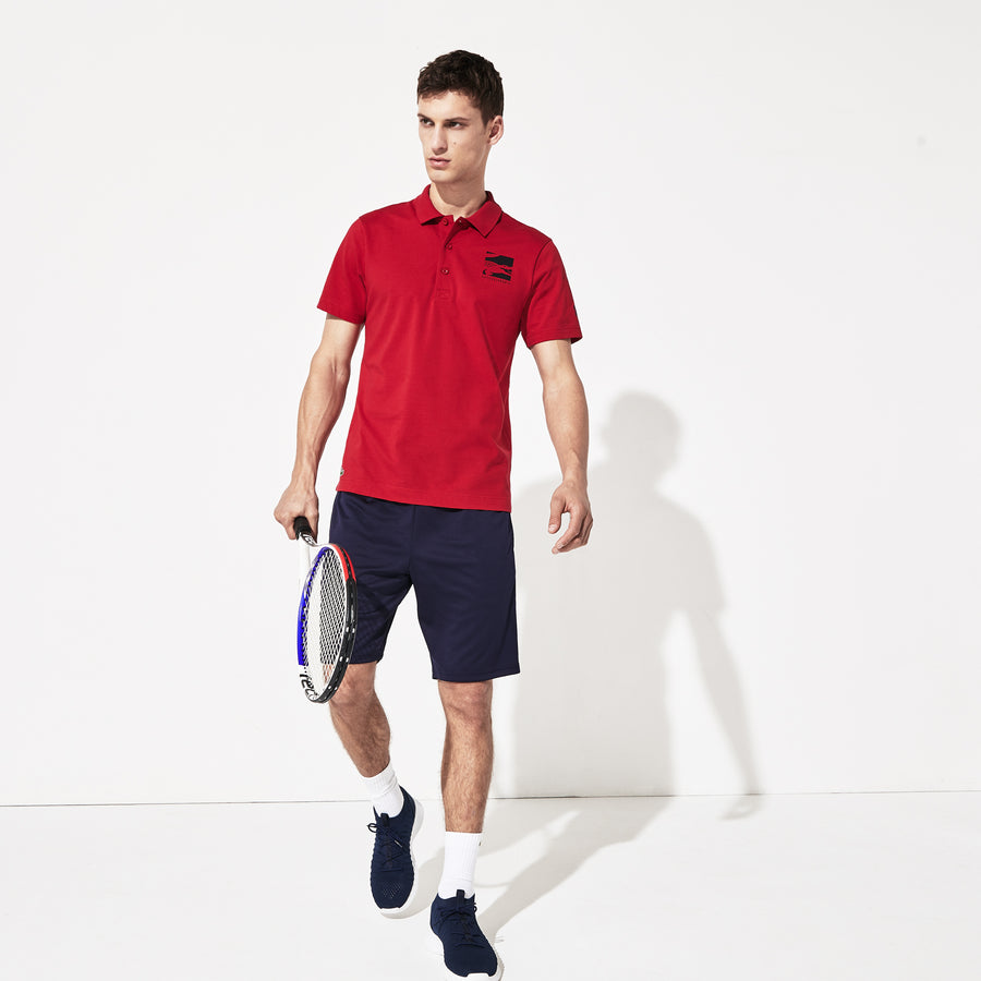 Men's Lacoste SPORT X Novak Djokovic Badge Polo Shirt--Red-Fws/Navy Blue-166