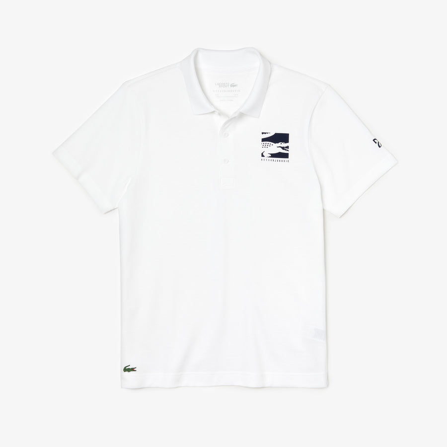 Men's Lacoste SPORT X Novak Djokovic Badge Polo Shirt--White /Navy Blue