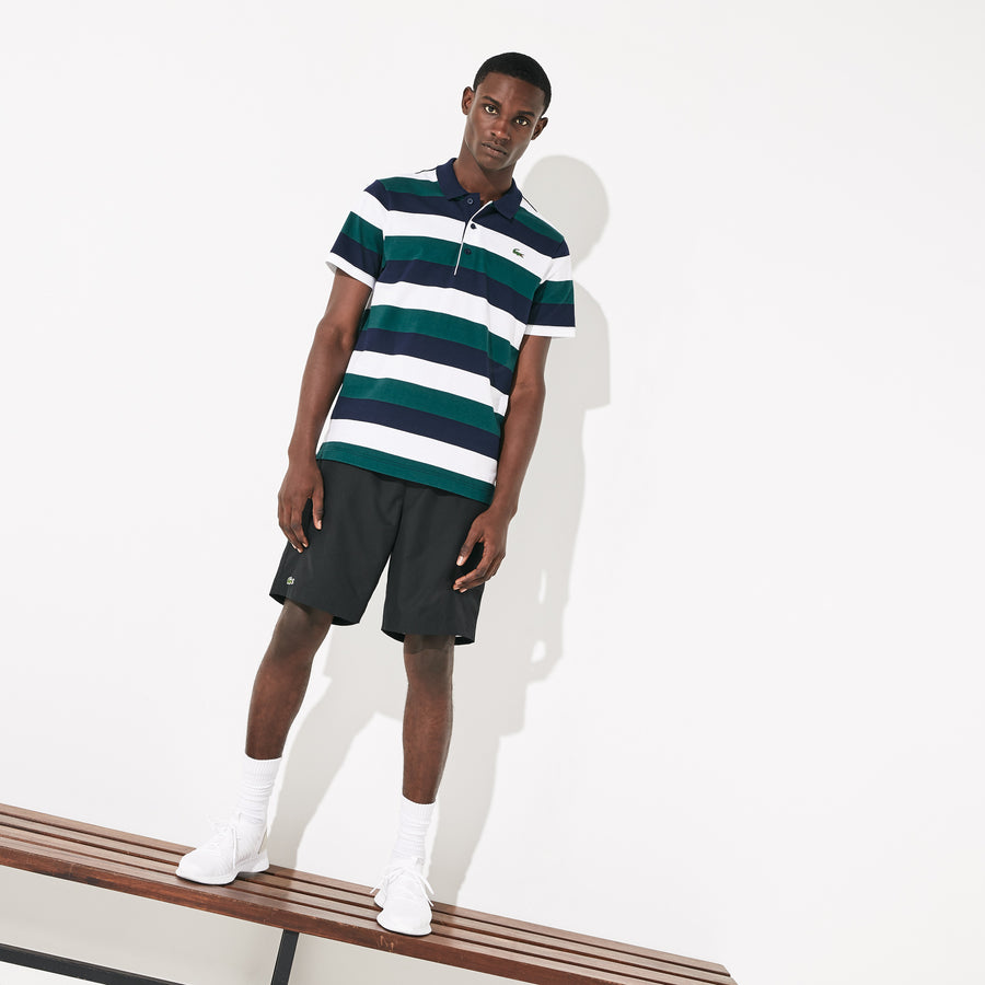 Men's Lacoste SPORT Striped Ultra Light Cotton Polo Shirt--Navy-Blue/White-Ivy