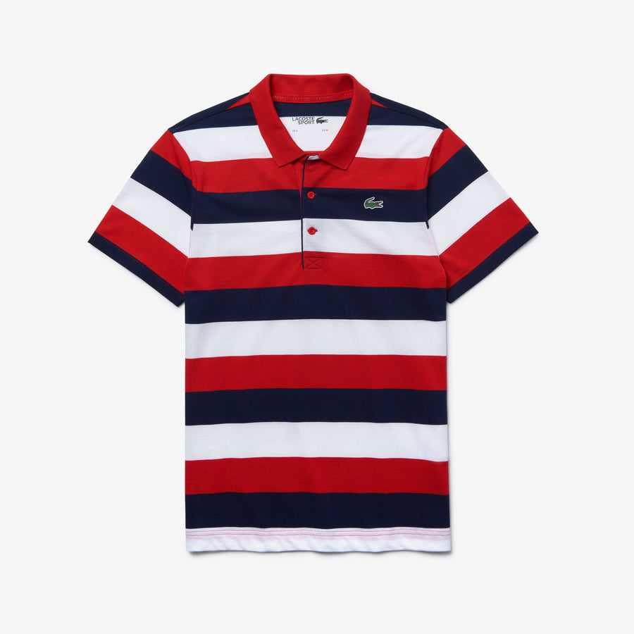 Men's Lacoste SPORT Striped Ultra Light Cotton Polo Shirt--Red/Navy-Blue-White