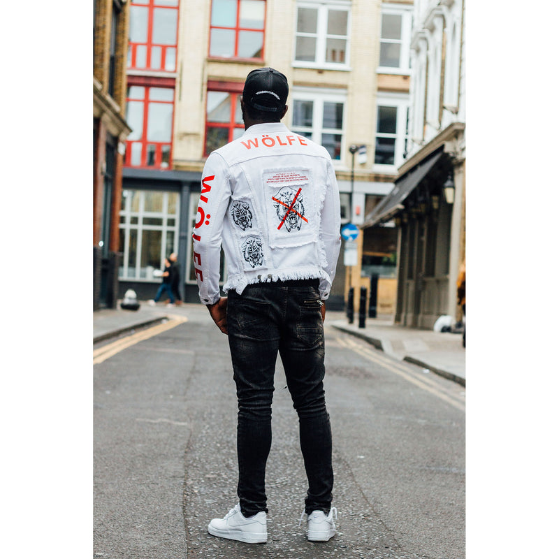 WÖLFE men's customised Matthew 7:15 white denim jacket - Wölfeclothing