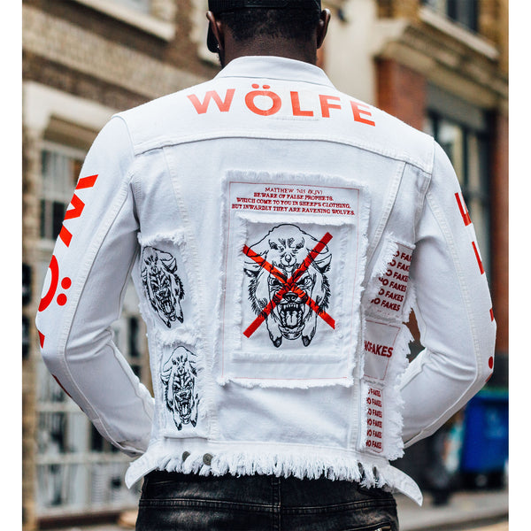 WÖLFE men's customised Matthew 7:15 white denim jacket
