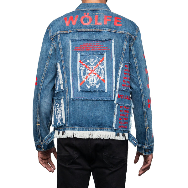 WÖLFE men's customised Matthew 7:15 blue denim jacket