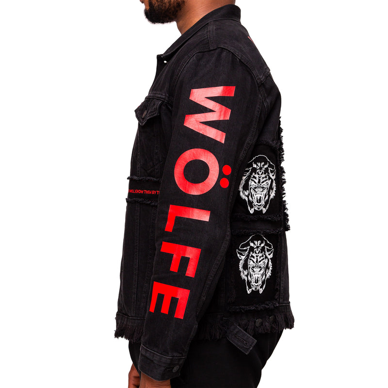 WÖLFE men's customised Matthew 7:15 black jacket - Wölfeclothing
