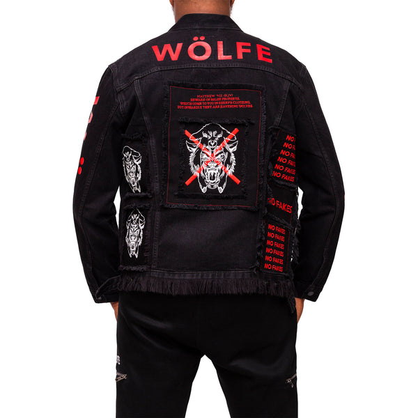 WÖLFE men's customised Matthew 7:15 black jacket