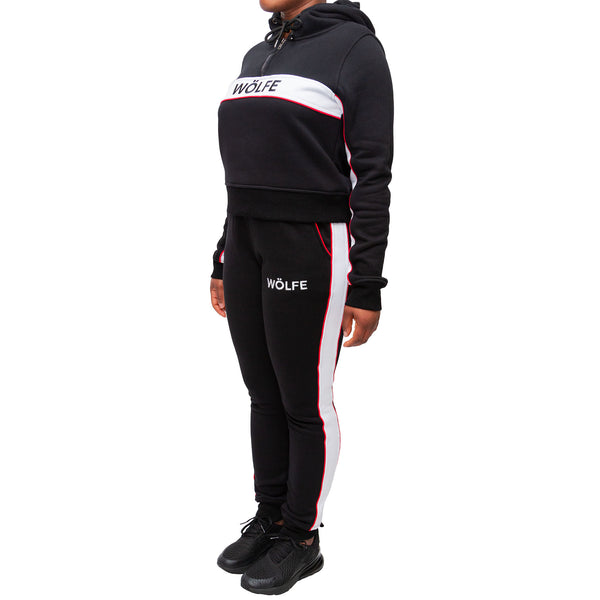 WÖLFE WOMENS EMBROIDERED LOGO PANEL TRACKSUIT - Wölfeclothing