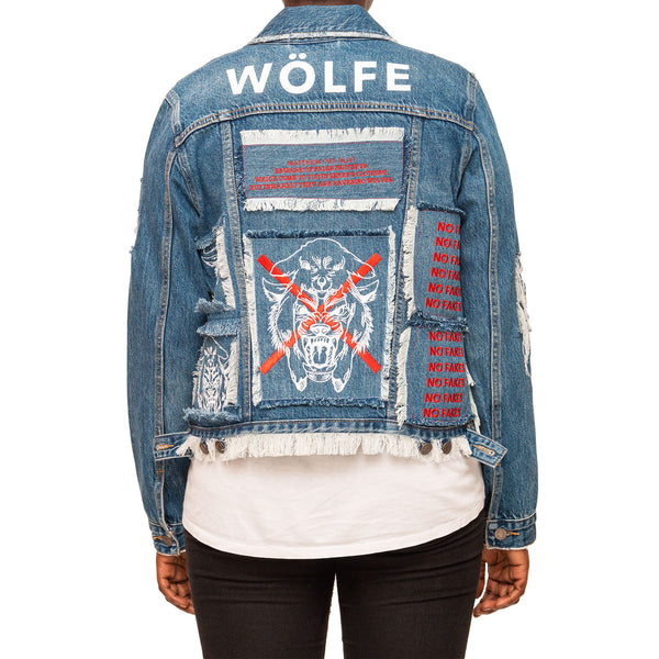 WÖLFE women's customised Matthew 7:15 blue denim jacket - Wölfeclothing