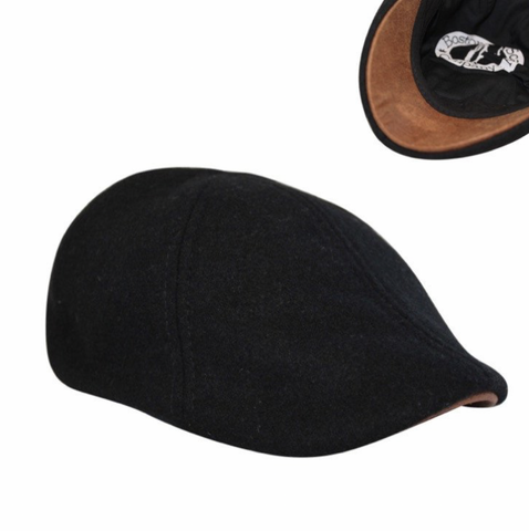 'The Kenmore' Scally Cap - Coolidge Black with Brown Brim