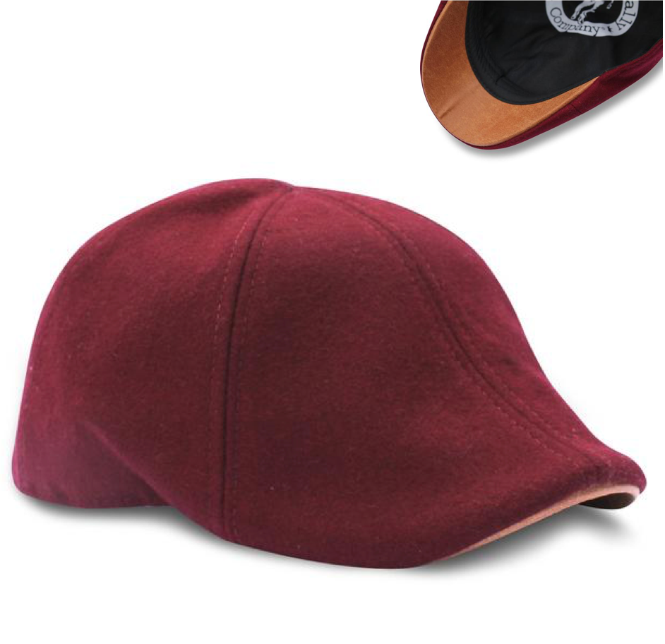 'The Kenmore' Scally Cap - Crimson with Brown Brim