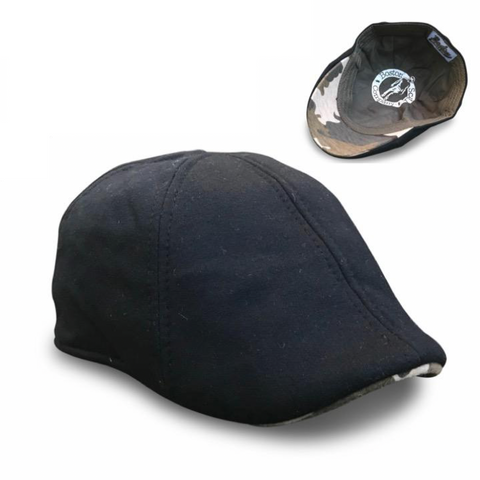 'The Responder' Scally Cap - Military - Black with Camouflage Brim