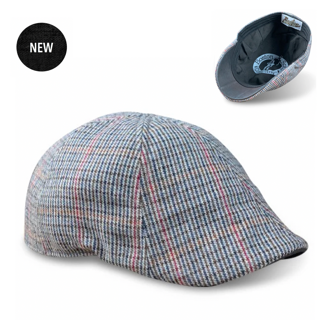 'The Homage' Grey & Navy Houndstooth Scally Cap