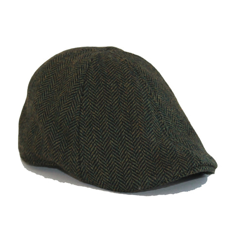'The Donnybrook' Scally Cap-Dark Olive Green Herringbone