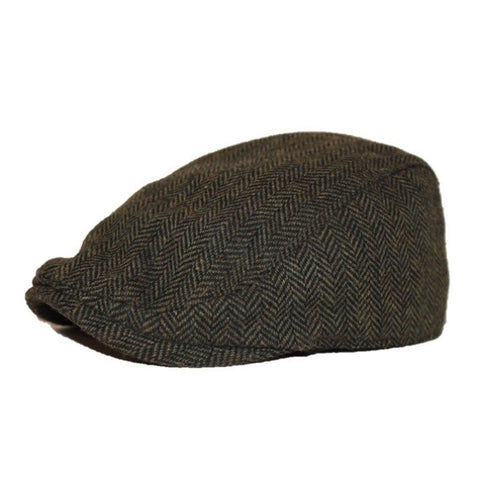 The Original Boston Scally Cap - Dark Olive Green Herringbone