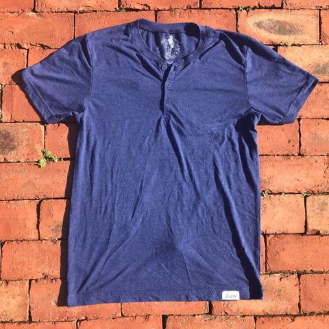 Boston Scally Short Sleeve Henley - Blue