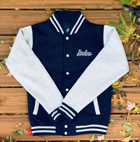 Boston Scally Varsity Jacket - Navy/Heather Grey