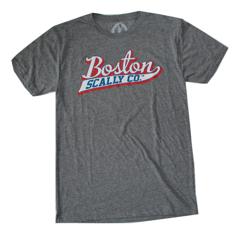 Boston Scally USA Grey Tee-Red, White & Blue