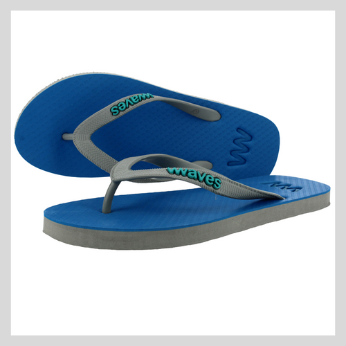 100% Natural Rubber Flip Flop – Blue with Grey Sole