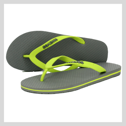 100% Natural Rubber Flip Flop – Grey with Lime Line