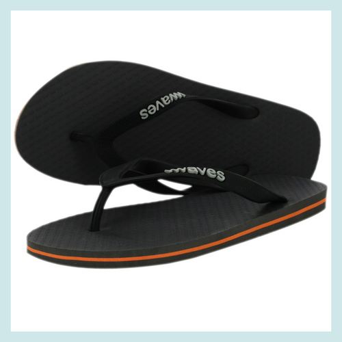 100% Natural Rubber Flip Flop – Slate Grey with Orange Stripe