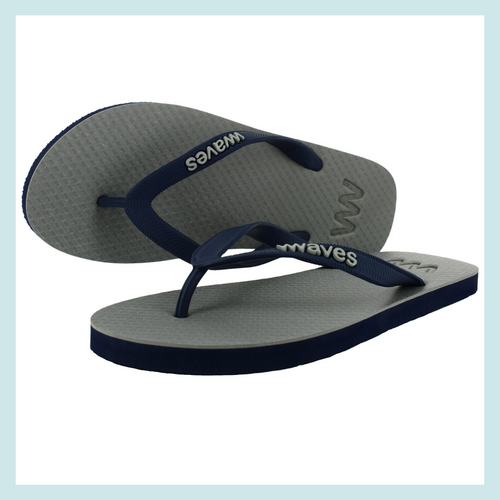 100% Natural Rubber Flip Flop – Grey with Navy Soles