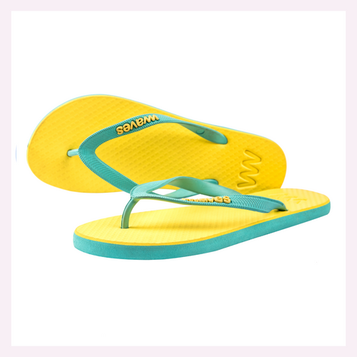 100% Natural Rubber Flip Flop – Sunshine Yellow and Blue Two Tone