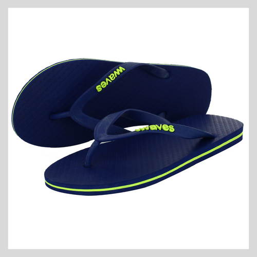 100% Natural Rubber Flip Flop – Navy with Lime Line