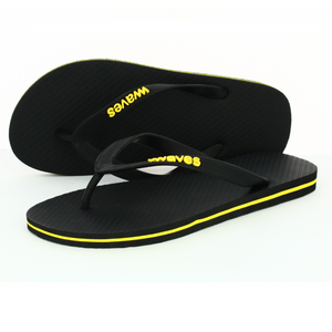 100% Natural Rubber Flip Flop – Black with Yellow Line