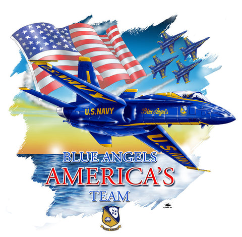Blue Angels Wings Adult Tee