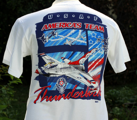 Thunderbird Air Force Wings Crest Adult Tee Shirt