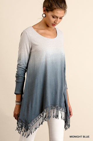 Dip Dye Tunic-Midnight Blue