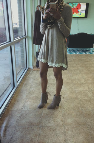 Lacey Goodness Tunic Dress-Mocha