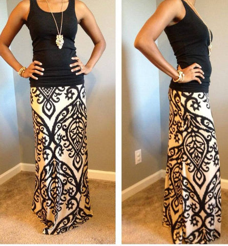 Candle Light Maxi Skirt-Taupe