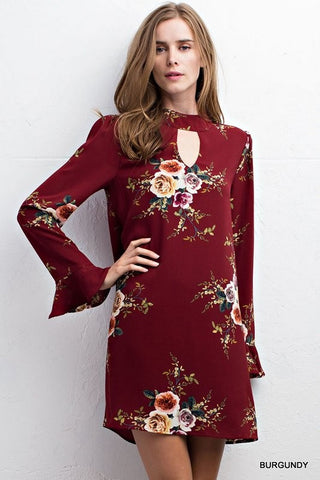 Floral Key Dress-Burgundy