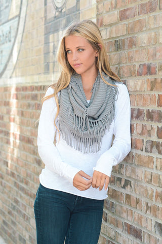 Fringe Infinity Scarves (Multiple Color Choices)