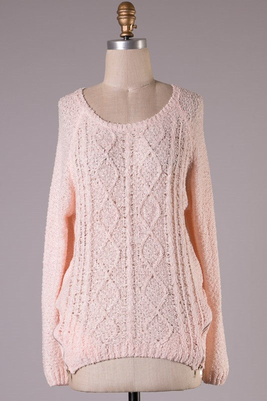 Side Zip Sweater-Pink