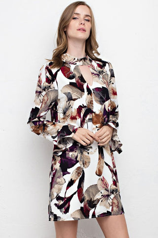 Time And Again Floral Dress-Wine