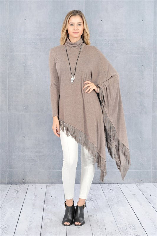 Walk On The Wild Side Fringe Top-Taupe