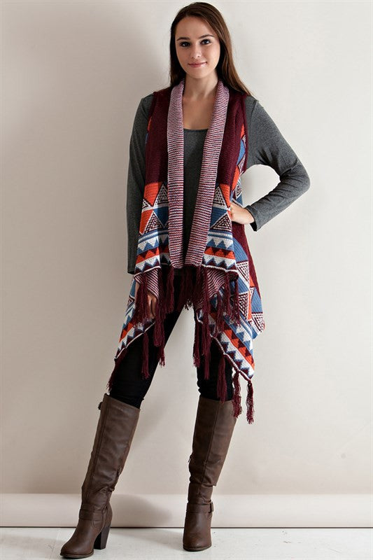 Out West Fringe Cardigan-Burgundy