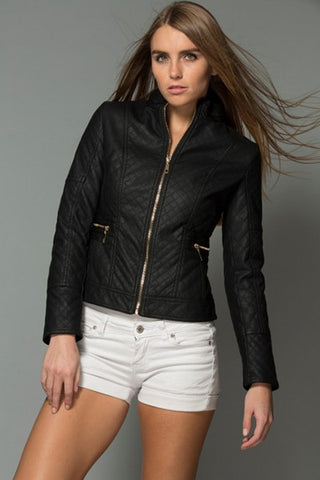 Selena Leather Jacket-Black
