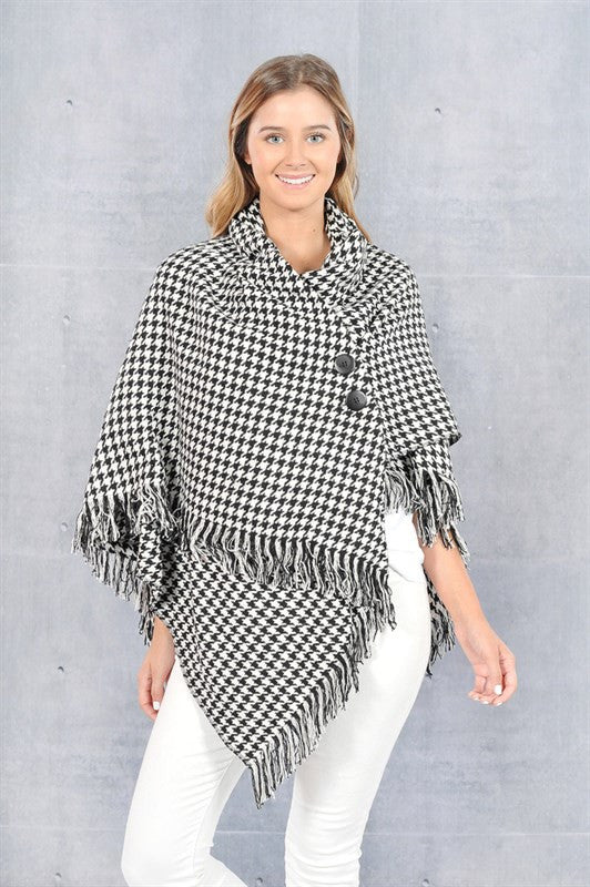 Game Day Poncho- Houndstooth