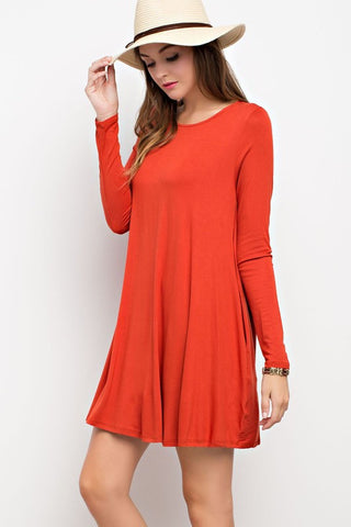 Sweet And Simple Pocket Dress-(Multiple color choices)