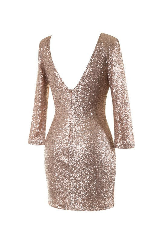 Glitz And Glamour Sequined Dress-Gold