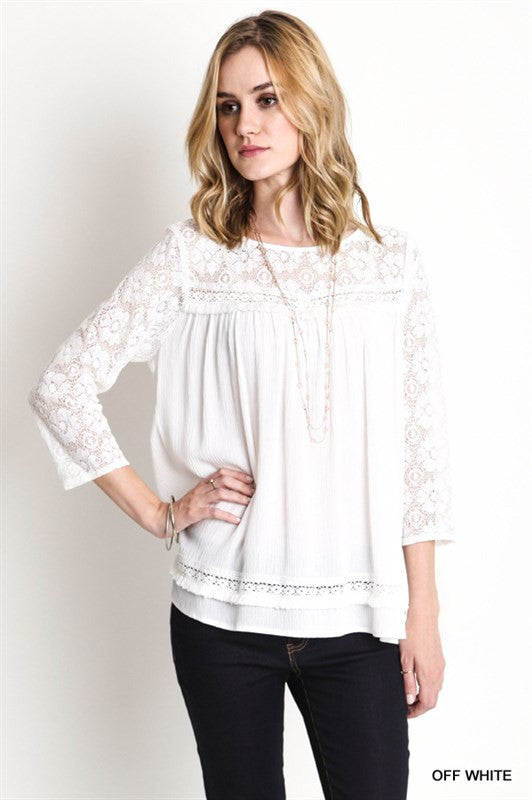 Lace Baby Doll Top-White