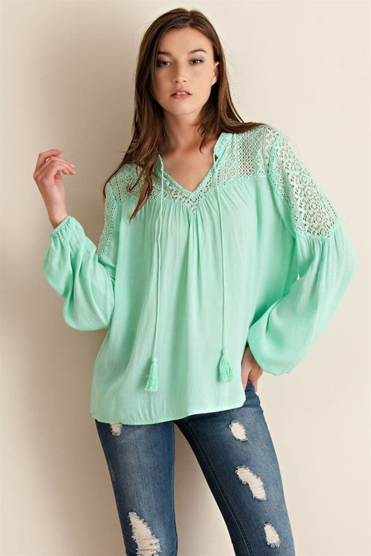 Spring Forward Blouse-Mint