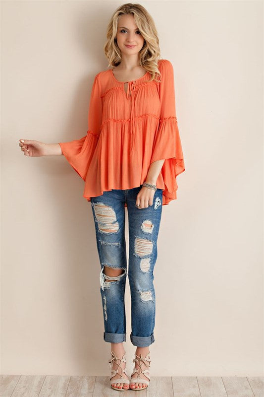 Talk About It Bell Sleeve Top-Peach