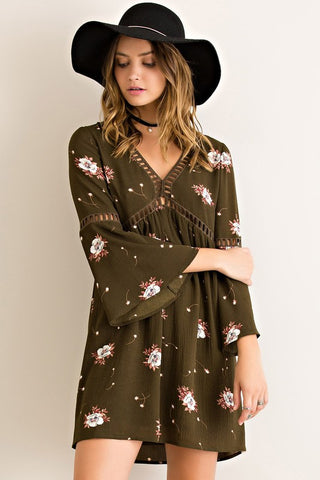 Ladder Floral Dress-Olive