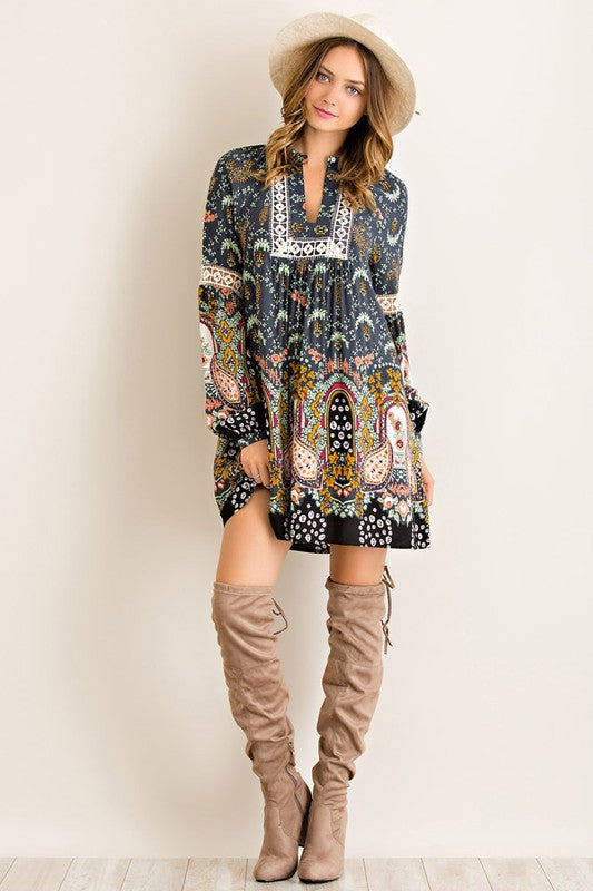 Paisley Dreams Dress-Charcoal
