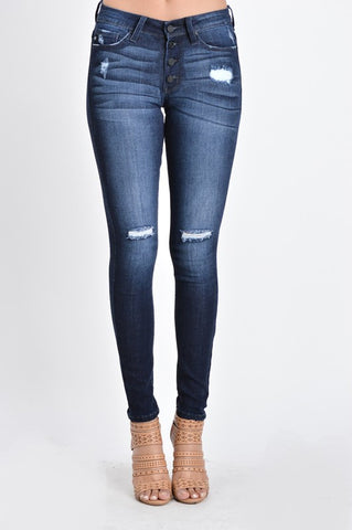 Kancan Penelope Distressed Skinnies-Dark Wash