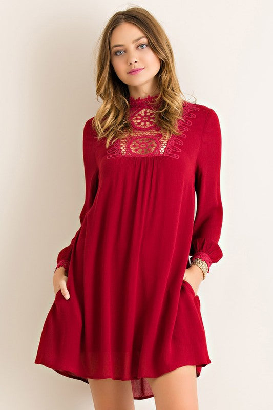 High Tide Dress-Burgundy