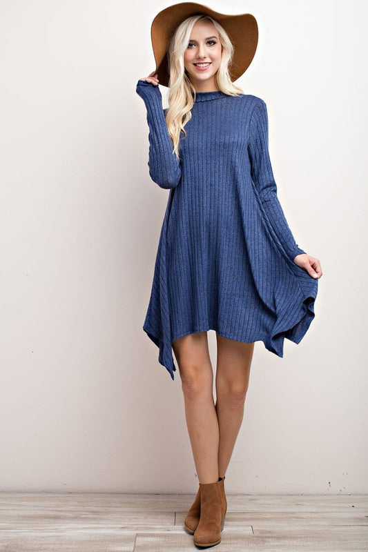 Ribbed Midi Dress-Blue Steel